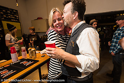 Susan McLaughlin and Paul D'Orleans at the after-Party at Revival Cycles on Sunday after the Handbuilt Motorcycle Show. Austin, TX. April 12, 2015.  Photography ©2015 Michael Lichter.