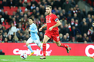 Jordan Henderson of Liverpool in action. Capital One Cup Final, Liverpool v Manchester City at Wembley stadium in London, England on Sunday 28th Feb 2016. pic by Chris Stading, Andrew Orchard sports photography.