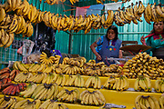 Food market and traders selling their wares and goods on display, bananas, San Cristobal de las Casas, Chiapas, Mexico.