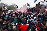 Football - 2017 / 2018 UEFA Champions League - Semi-Final, First Leg: Liverpool vs. A.S. Roma<br /> <br /> Liverpool fans outside Anfield prior to kick-off<br /> <br /> COLORSPORT/PAUL GREENWOOD
