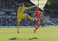 Blackpool's Jordan Thompson under pressure from Wycombe Wanderers' Ryan Allsop<br /> <br /> Photographer Kevin Barnes/CameraSport<br /> <br /> The EFL Sky Bet League One - Wycombe Wanderers v Blackpool - Saturday 4th August 2018 - Adams Park - Wycombe<br /> <br /> World Copyright © 2018 CameraSport. All rights reserved. 43 Linden Ave. Countesthorpe. Leicester. England. LE8 5PG - Tel: +44 (0) 116 277 4147 - admin@camerasport.com - www.camerasport.com
