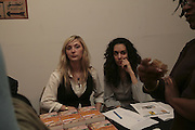 Katharine Bartheme and Lara Asole, Misadventure In the Middle East. Travels As a Tramp, Artist and Spy by Henry Hemming. Book launch and exhibition. Paradise Row. London. E2.  -DO NOT ARCHIVE-© Copyright Photograph by Dafydd Jones. 248 Clapham Rd. London SW9 0PZ. Tel 0207 820 0771. www.dafjones.com.