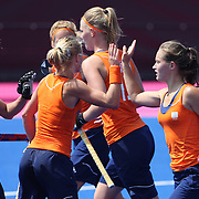 Holland celebrate a goal during the Australia V Holland women's hockey warm up match on the main hockey arena at Olympic Park, Stratford during the London 2012 Olympic games preparation at the London Olympics. London, UK. 22nd July 2012. Photo Tim Clayton
