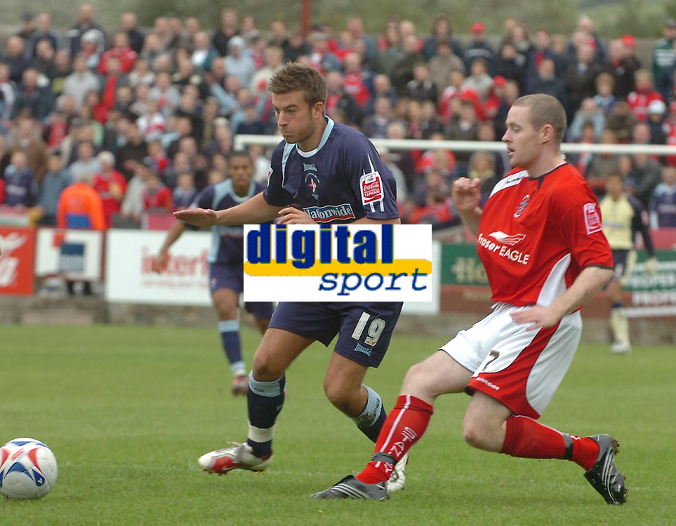Photo: Paul Greenwood. <br />Accrington Stanley v Swindon Town. Coca Cola League 2. 07/10/2006.<br />Swindon's Michael Pook (19) battles with Michael Welch.