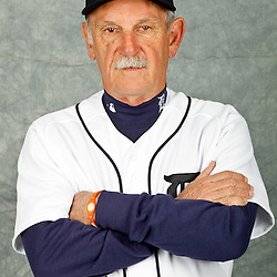 February 28, 2012; Lakeland, FL, USA; Detroit Tigers manager Jim Leyland (10) poses for photo day in the rec room at the Detroit Tigers Headquarters.  Mandatory Credit: Derick E. Hingle-US PRESSWIRE