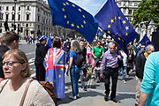 Anti Brexit protesters waving European Union flags in Westminster as inside Parliament the Tory leadership race continues on 17th June 2019 in London, England, United Kingdom.