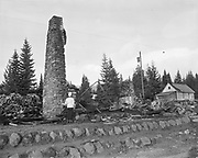 Y-501108-02.  Battle Axe Inn ruins after fire, Government Camp, Mt. Hood, November 8, 1950. (The fire that destroyed the inn happened the day before, November 7, 1950.)