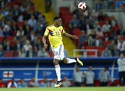 July 3, 2018 - Moscow, Russia - Round of 16 England v Colombia - FIFA World Cup Russia 2018..Yerry Mina (Colombia) at Spartak Stadium in Moscow, Russia on July 3, 2018. (Credit Image: © Matteo Ciambelli/NurPhoto via ZUMA Press)