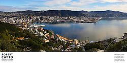 A panorama view of Wellington and Lambton Harbour, from the summit of Mount Victoria.