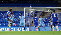 Chelsea's Isaiah Brown scores his sides equalising goal to make the score 1-1<br /> <br /> Photographer Ashley Western/CameraSport<br /> <br /> Football - The FA Youth Cup Second Leg - Chelsea U18's v Manchester City U18's - Monday 27th April 2015 - Stamford Bridge - London<br /> <br /> © CameraSport - 43 Linden Ave. Countesthorpe. Leicester. England. LE8 5PG - Tel: +44 (0) 116 277 4147 - admin@camerasport.com - www.camerasport.com