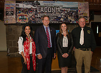 Cynthia Makris Association President, Governor Chris Sununu, Jennifer Anderson Deputy Director and Charlie St Clair Executive Director at the press conference kick off for the 95th Laconia Motorcycle Week held at the Gunstock Resort Main Lodge Thursday morning.  (Karen Bobotas/for the Laconia Daily Sun)