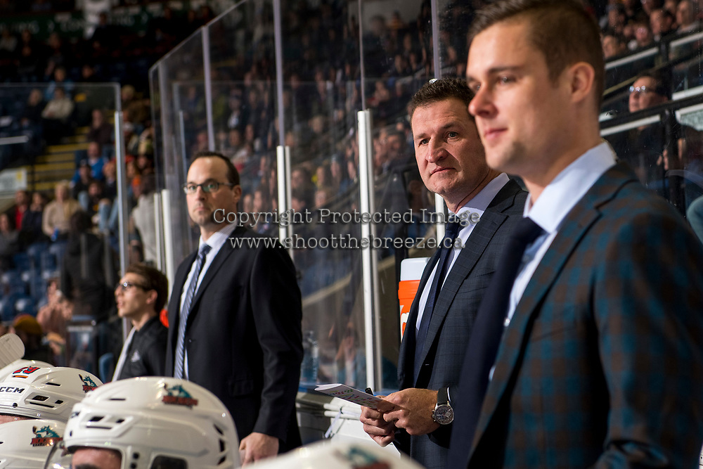 KELOWNA, CANADA - JANUARY 30:  Kelowna Rockets' head coach Adam Foote stands on the bench against the Seattle Thunderbirds on January 30, 2019 at Prospera Place in Kelowna, British Columbia, Canada.  (Photo by Marissa Baecker/Shoot the Breeze)