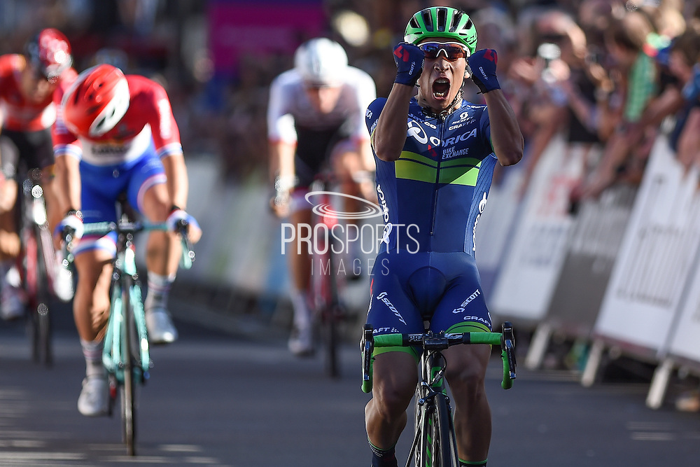 Caleb Ewan of Australia and Orica BikeExchange takes the stage win at the Tour of Britain 2016 stage 8 , London, United Kingdom on 11 September 2016. Photo by Martin Cole.