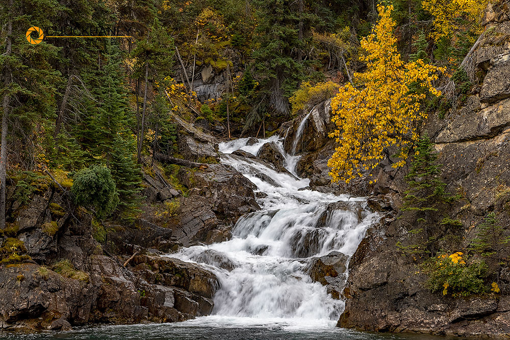 Gros Ventre Falls in autumn in Glacier National Park, Montana, USA