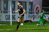 Wimbledon midfielder Anthony Hartigan (8) scores a goal and celebrates to make the score 0-2 during the The FA Cup 3rd round match between Fleetwood Town and AFC Wimbledon at the Highbury Stadium, Fleetwood, England on 5 January 2019.