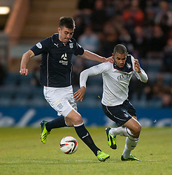 Dundee's Declan Gallagher and Falkirk's Phil Roberts.<br /> Dundee 1 v 1 Falkirk, Scottish Championship game at Dundee's home ground Dens Park.<br /> ©Michael Schofield.