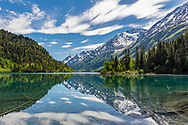 Ptarmigan Lake in Chugach National Forest on the Kenai Peninsula of Southcentral Alaska. Spring. Afternoon.