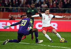 WROCLAW, March 24, 2018  Robert Lewandowski (R) of Poland attacks during an international friendly game between Poland and Nigeria in Wroclaw, Poland, on March 23, 2018. Nigeria won 1-0. (Credit Image: © Jaap Arriens/Xinhua via ZUMA Wire)