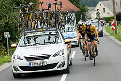 Ljubljana Gusto Xaurum car and cyclists during 3rd Stage of 25th Tour de Slovenie 2018 cycling race between Slovenske Konjice and Celje (175,7 km), on June 15, 2018 in  Slovenia. Photo by Vid Ponikvar / Sportida