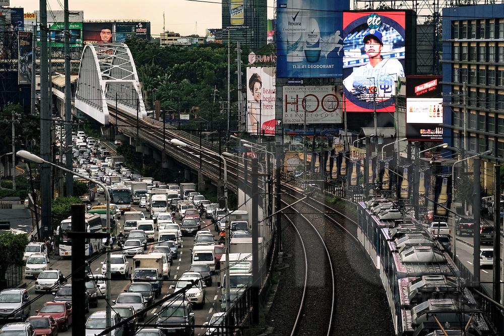 Traffic jam along Epifanio de los Santos Avenue, Quezon City, Philippines, Southeast Asia, 2016