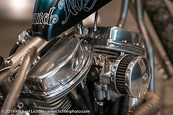 Faith Forgotten Choppers' Will Ramsay's custom Panhead at the Handbuilt Show. Austin, TX. USA. Saturday April 21, 2018. Photography ©2018 Michael Lichter.
