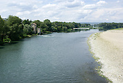 Pont-Saint-Esprit, Proence, France the Rohne River in the foreground