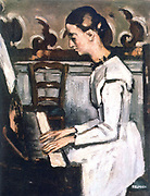 Girl at the Piano -  Overture to 'Tannhauser' (c1868-1869) detail. Painting by Paul Cezanne (1839-1906) French Post-Impressionist painter .