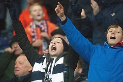 South stand celebrates after Falkirk's Myles Hippolyte scored their third goal. Falkirk 3 v 1 St Mirren, Scottish Championship game played 3/12/2016 at The Falkirk Stadium.