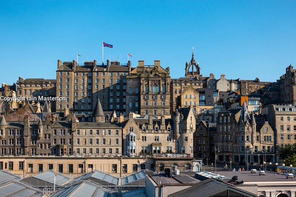 Skyline of Edinburgh Old Town from  Princes Street, Edinburgh, Scotland, UK