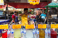 Tropical Fruit Drinks at Chatuchak Market, Bangkok - Fruit is a primary source of food intake in Thailand, and an important export item as well.  Naturally a large variety of fruit drinks appear in both the markets and supermarket and are easily available on the street.  Usually well chilled and normally quite hygenic, fruit drinks in Thailand can be a godsend on a hot day.