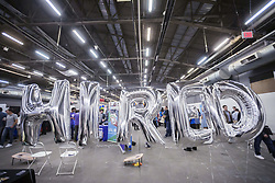 April 22, 2016 - New York, NY, USA - Balloon decorations at the Hired booth at the TechDay New York event on Thursday, April 21, 2016. The U.S. Dept. of Labor reported that unemployment benefits have dropped to the lowest level since 1969. (Ã' Richard B. Levine) (Credit Image: © Richard B. Levine/Levine Roberts/Newscom via ZUMA Press)