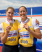 Banyoles, SPAIN,  GBR W2-,  [R] Louisa REEVE and Olivia WHITLAM,  Gold Medalist, Women's pair, at the FISA World Cup Rd 1. Lake Banyoles.  Sunday,  31/05/2009   [Mandatory Credit. Peter Spurrier/Intersport Images]