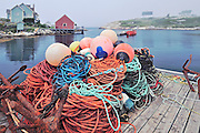 Buoys and fishing lines in fishing village<br /> Peggy's Cove<br /> Nova Scotia<br /> Canada