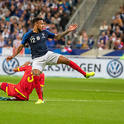 PARIS, FRANCE - September 10:  Corentin Tolisso #12 of France is defended by Marc Vales #3 of Andorra during the France V Andorra, UEFA European Championship 2020 Qualifying match at Stade de France on September 10th 2019 in Paris, France (Photo by Tim Clayton/Corbis via Getty Images)
