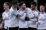 Oliver Norwood of Fulham © celebrates after he scores his team's first goal from a penalty. EFL Skybet football league championship match, Fulham v Millwall at Craven Cottage in London on Saturday 25th November 2017.<br /> pic by Steffan Bowen, Andrew Orchard sports photography.