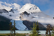 """Berg Glacier and Berg Lake are a wonderful backpacking destination in Mount Robson Provincial Park of British Columbia, Canada. Mount Robson (3954 meters or 12,972 feet) is the highest point in the Canadian Rockies, and is part of the Rainbow Range. Mount Robson is part of the Canadian Rocky Mountain Parks World Heritage Site honored by UNESCO in 1984. Published in """"Light Travel: Photography on the Go"""" book by Tom Dempsey 2009, 2010."""