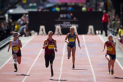 © Licensed to London News Pictures . 17/05/2014 . Manchester , UK . Women's IPC 100m T44 on Deansgate . The Great City Games in Manchester , with athletics on a track along Deansgate and Pole Vault and Long Jump in Albert Square . Photo credit : Joel Goodman/LNP
