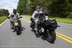 Jeff Milburn (R) riding his Class II 1937 Harley-Davidson WL 750cc Flathead alongside Randy Samz on his Flathead during the Cross Country Chase motorcycle endurance run from Sault Sainte Marie, MI to Key West, FL. (for vintage bikes from 1930-1948). 287 mile ride of Stage-8 from Tallahassee to Lakeland, FL USA. Friday, September 13, 2019. Photography ©2019 Michael Lichter.