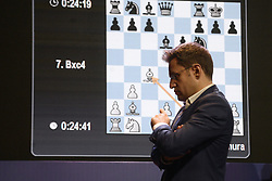 November 11, 2018 - Kolkata, West Bengal, India - Armenian chess Grandmaster Levon Aronian during the eightieth round matches of rapid chess at Tata Steel Chess India. (Credit Image: © Saikat Paul/Pacific Press via ZUMA Wire)