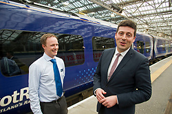Pictured: Jamie Hepburn chats to ScotRail's Liam Casey<br /> Minister for Employability and Training Jamie Hepburn launched a £10 million Flexible Workforce Development Fund which will partner industry with colleges to deliver in-work skills training during a visit to Waverlety Station in Edinburgh today. Mr Hepburn met to meet ScotRail staff who have undertaken in-work training to further their careers along with represenatatives from the Further Education sector.<br /> <br /> <br /> Ger Harley | EEm 7 September 2017