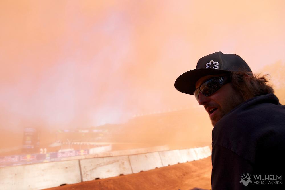Course workers during RallyCross Finals at the 2013 X Games Foz do Iguacu in Foz do Iguaçu, Brazil. ©Brett Wilhelm/ESPN