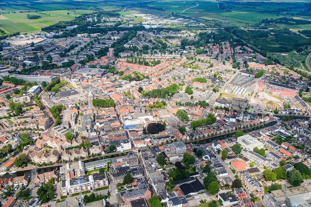 Nederland, Drenthe, Meppel, 27-08-2013;<br /> Overzicht van de stad Meppel. Heerengracht en Gasgracht in centrum. Boven in beeld het platteland van Drenthe.<br /> City of Meppel (northern Netherlands) with cacals. The country on the horizon.<br /> luchtfoto (toeslag op standaard tarieven);<br /> aerial photo (additional fee required);<br /> copyright foto/photo Siebe Swart.