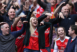 23 April 2017 FA Cup semi-final : Arsenal v Manchester City :<br /> Arsenal fans make fun of City supporters after they had thought Sterling had scored a goal.<br /> Photo: Mark Leech