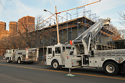 New Haven Fire Department responds to Fire on Roof at Watson Hall, Yale School of Management, Prospect and Sachem Streets, 25 November 2011