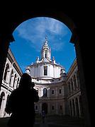 Tourist at the Sant'ivo Alla Sapienza. Rome, Italy.