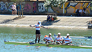 Seville. Andalusia. SPAIN.  Men's Quads Final, Gold Medalist GER M4X celebrate after winning the final. Bow, Karl SCHULZE, Paul HEINRICH, Lauritz SCHOOF and Tim GROHMANN, at the  2013 FISA European Rowing Championship.  Guadalquivir River.  Sunday   02/06/2013  [Mandatory Credit. Peter Spurrier/Intersport Images]
