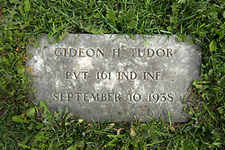 31 August 2017:   Veterans graves in Park Hill Cemetery in eastern McLean County.<br /> <br /> Gideon H Tudor  Private 161 IND INF  September 10 1938