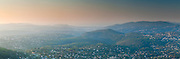 A multi-image panorama of the stunning views offered from Cabris at dawn. Looking towards the south coast of France. Europe.
