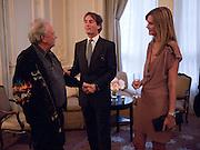 DAVID BAILEY; TIM JEFFERIES; MALIN JEFFERIES, Dinner to mark 50 years with Vogue for David Bailey, hosted by Alexandra Shulman. Claridge's. London. 11 May 2010