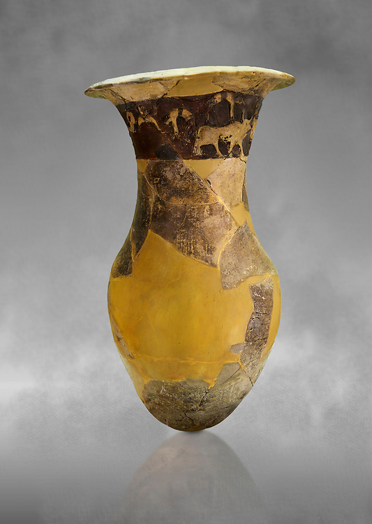 Hüseyindede vases, Old Hittite Po;ychrome Relief vessel, partially finished, 16th century BC. Çorum Archaeological Museum, Corum, Turkey. Against a grey bacground. .<br /> <br /> If you prefer to buy from our ALAMY STOCK LIBRARY page at https://www.alamy.com/portfolio/paul-williams-funkystock/hittite-art-antiquities.html  - Huseyindede into the LOWER SEARCH WITHIN GALLERY box. Refine search by adding background colour, place, museum etc<br /> <br /> Visit our HITTITE PHOTO COLLECTIONS for more photos to download or buy as wall art prints https://funkystock.photoshelter.com/gallery-collection/The-Hittites-Art-Artefacts-Antiquities-Historic-Sites-Pictures-Images-of/C0000NUBSMhSc3Oo
